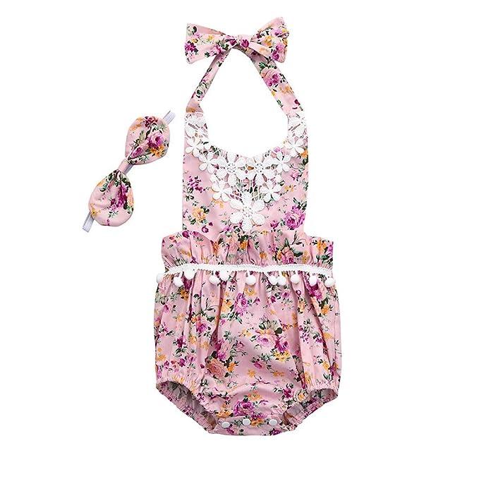 Niña bebé Vestido,Sonnena ❤ ❤ ❤ Floral impresión Vestido sin Manga Lindo Correa kowknot Traje Conjunto de Verano Romper para Chica bebé Recien ...