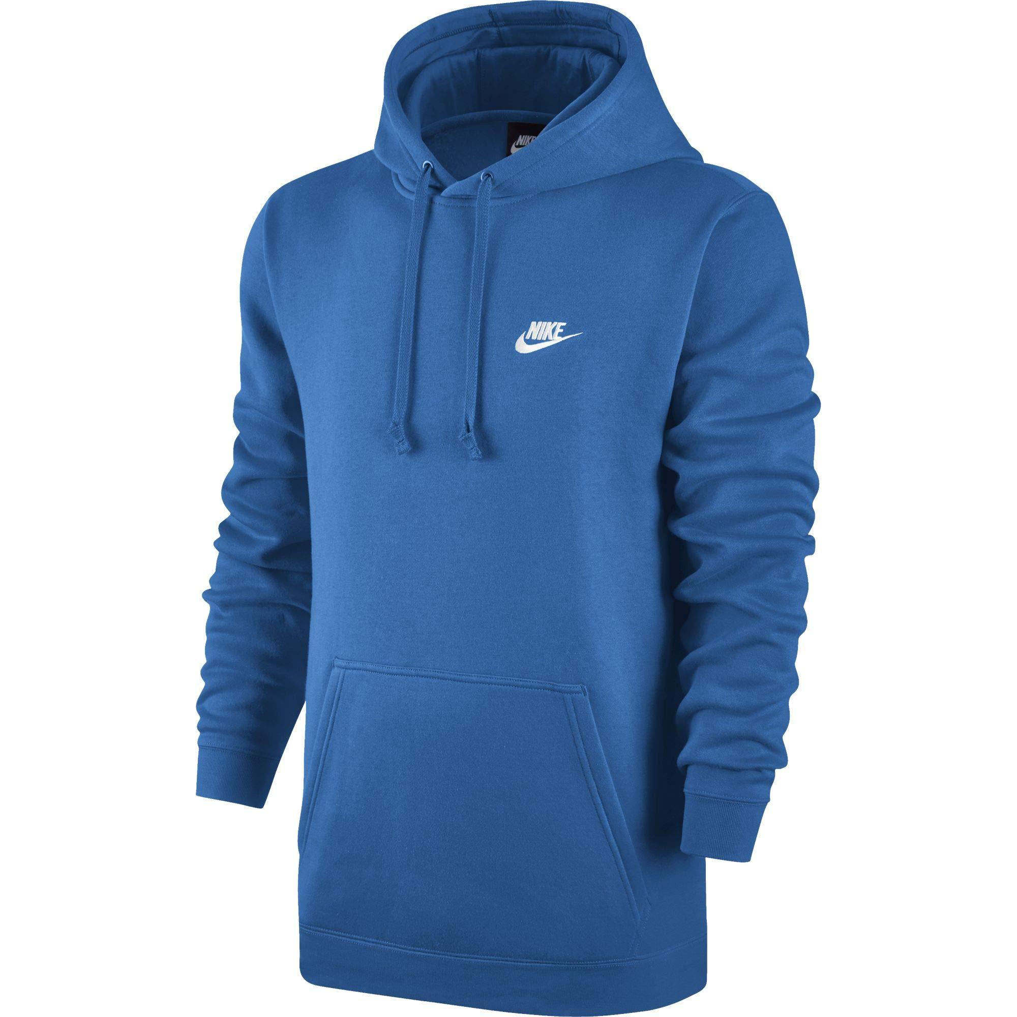 NIKE Club Fleece Men's Pullover Hoodie Signal Blue/White 804346-403 (Size XS)