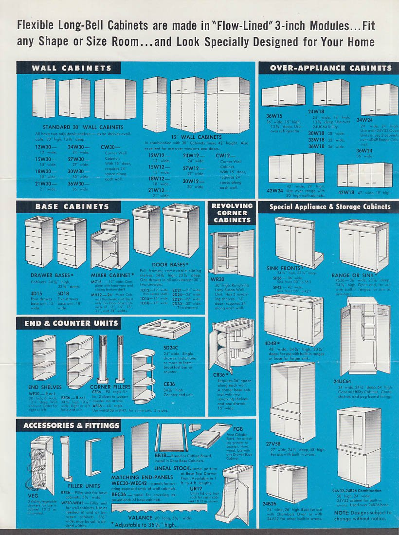 Long Bell Natural Wood Kitchen Cabinets sales folder 1955 Longview ...