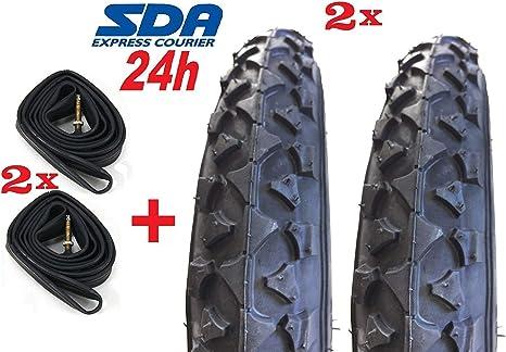 2 Neumáticos Negro para Bici Bicicleta 14 X 1.75 + 2 Cámaras de ...