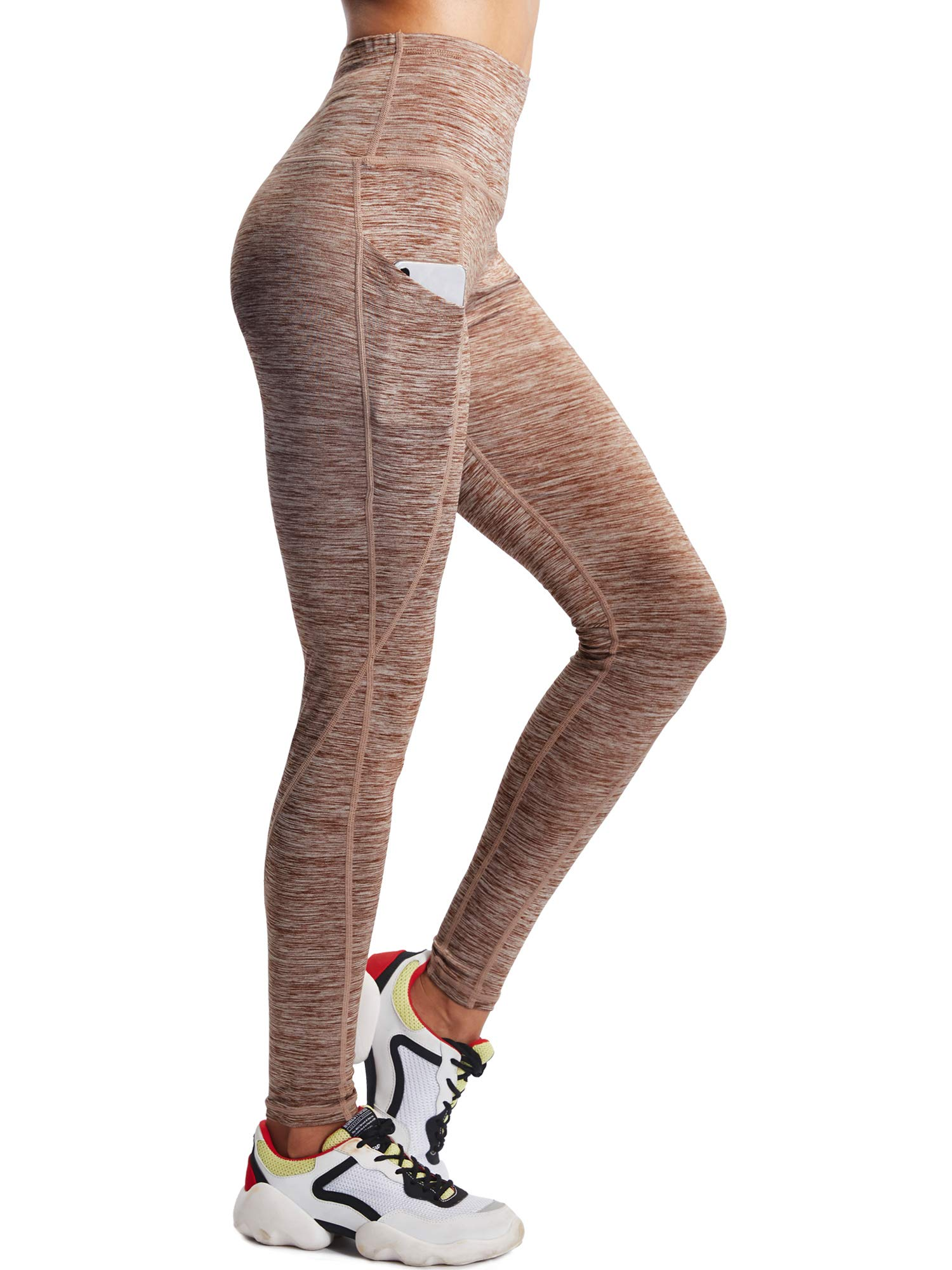 Neleus Tummy Control High Waist Workout Running Leggings for Women,9033,One Piece,Brown,S,EU M by Neleus