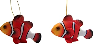 Wowser Clown Fish Christmas Ornament, Tropical Holiday Tree Decoration, 3 Inches, Set of 2