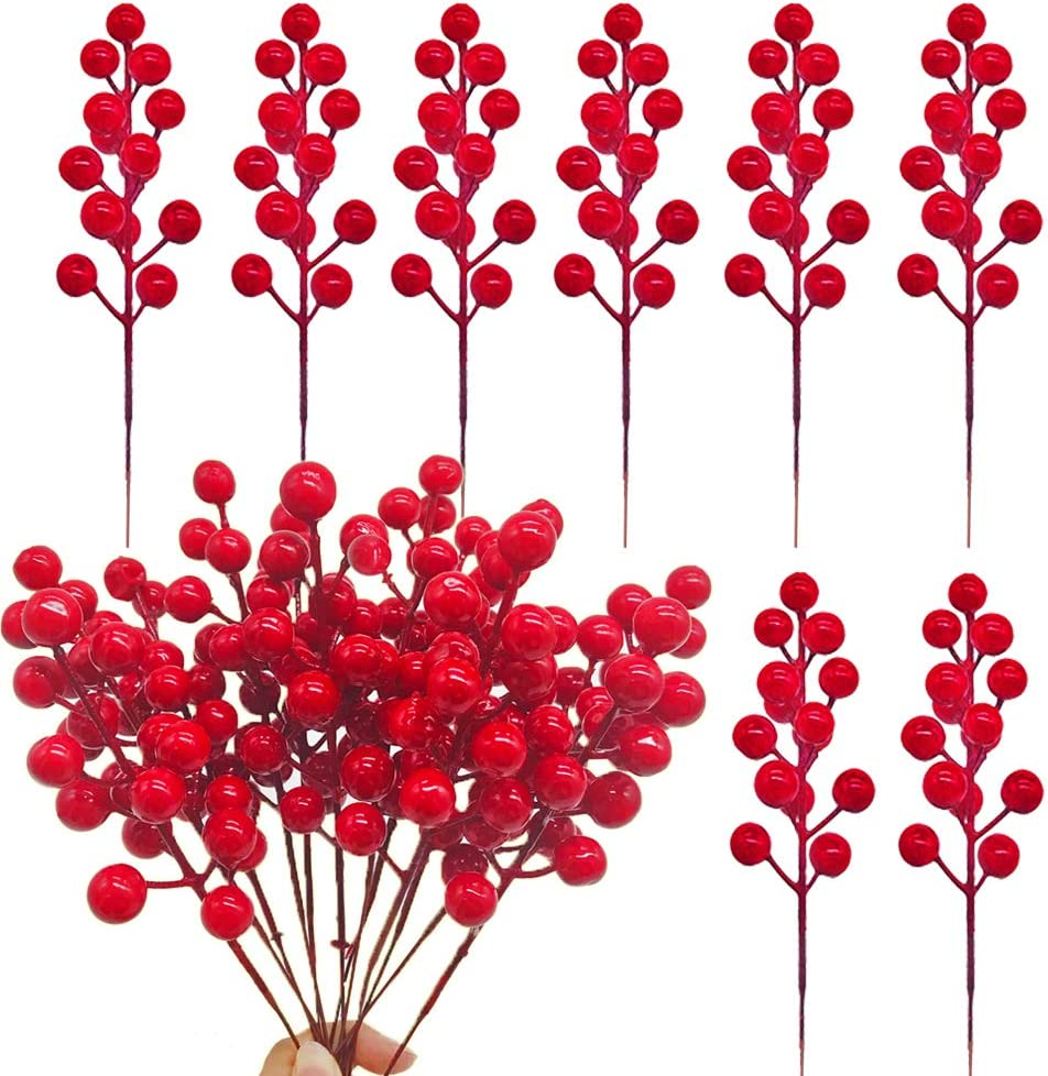 Szsrcywd 24 Pcs Red Berry Stems,Artificial Holly Christmas Berries Picks,Fake Red Berry Branch for Christmas Tree,DIY Wreath,Festival and Party Decor,7.9 inches