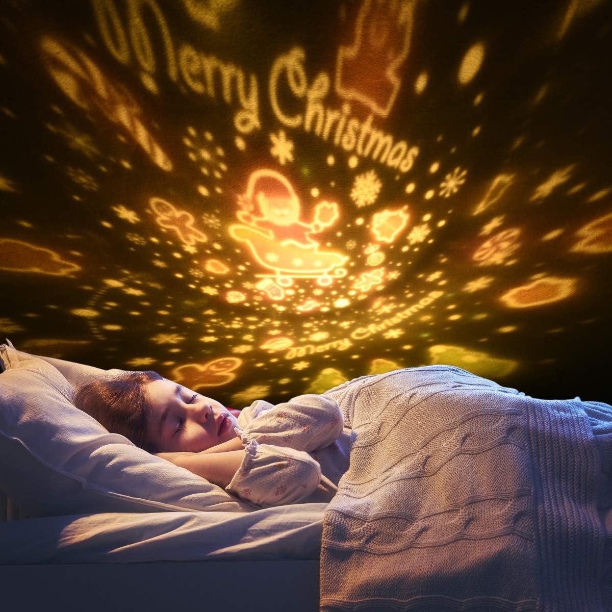 360/°Rotazione Musicale Lampada Proiettore Stelle con lo Schermo a Led e Telecomando Coniglio Luce Notturna per Neonati//Bambini URAQT Luce Notturna Proiettore Luci Notte per Bambini