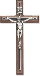 8 Inch Walnut W/ Black Overlay Crucifix Cross Home Religious Wall D?cor Christian Catholic