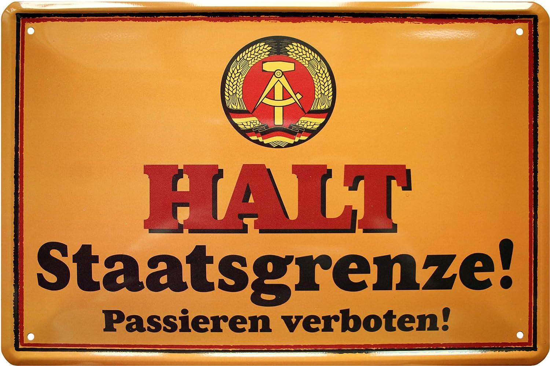 Storia della DDR Ostalgia Oriente 20 x 30 cm con Scritta Deko 876 Blechschild Targa in Metallo Halt