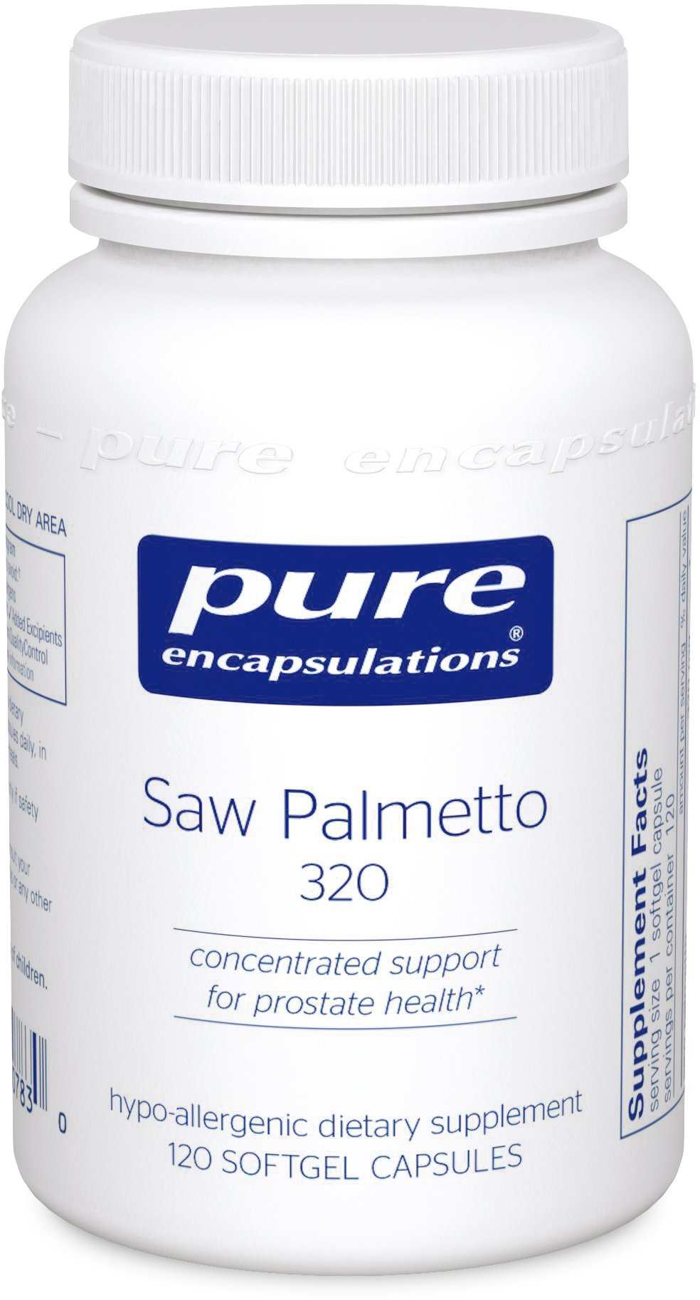 Pure Encapsulations - Saw Palmetto 320 - Hypoallergenic Supplement with Concentrated Support for Healthy Prostate and Urinary Function* - 120 Softgel Capsules
