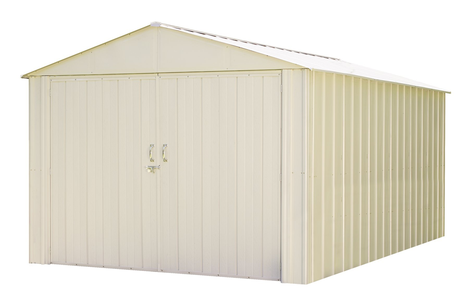 Commander, 10x15, Hot Dipped Galvanized Steel, Eggshell, High Gable, 71.3'' Wall Height, Extra Wide Swing Doors