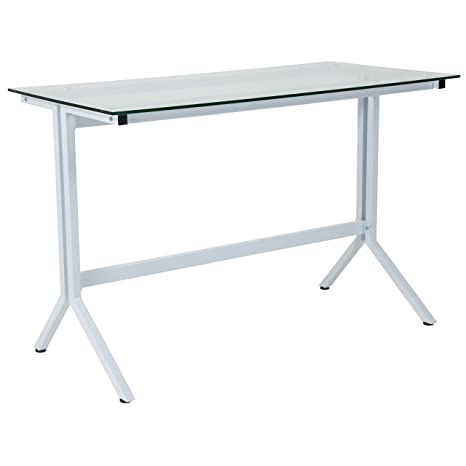 save off ca8ab 30697 Flash Furniture Winfield Collection Glass Computer Desk with White Metal  Frame