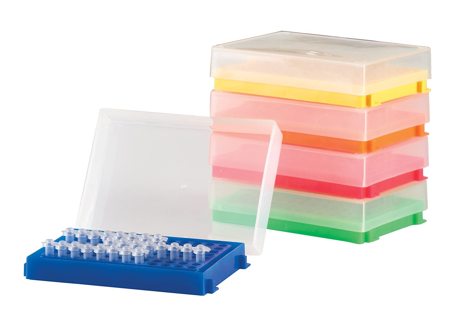 Pack of 5 Assorted Colours 96 Well Heathrow Scientific HD23461A PCR Rack Polypropylene 130mm Length x 98mm Width x 33mm Height