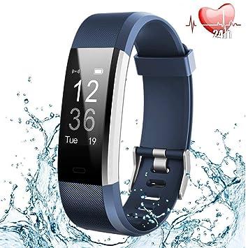 Pulsera Inteligente, Pulsera Actividad, IP67 Impermeable Pulsera Deportiva Monitor de Ritmo Cardíaco, Podometro, Pulsometro, Sueño Pulsera, Reloj ...