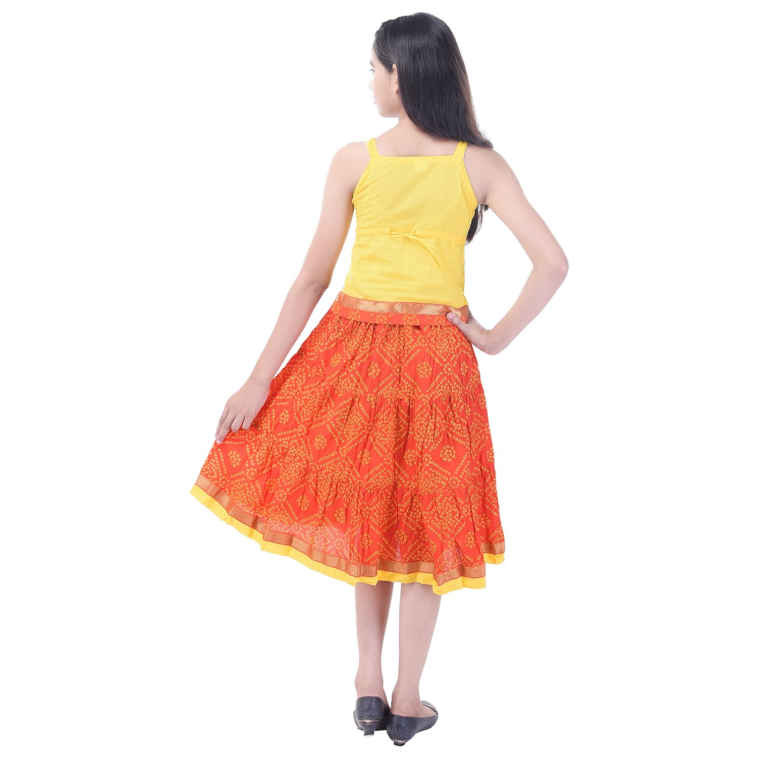 Soundarya Cotton Yellow Printed Sleeveless Top and Skirt Set