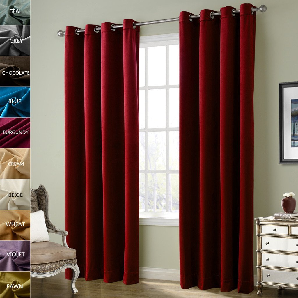 ChadMade Solid Matt Heavy Velvet Curtain Drape Panel Super Soft Nickel Grommet Burgundy Set of 2 Panels