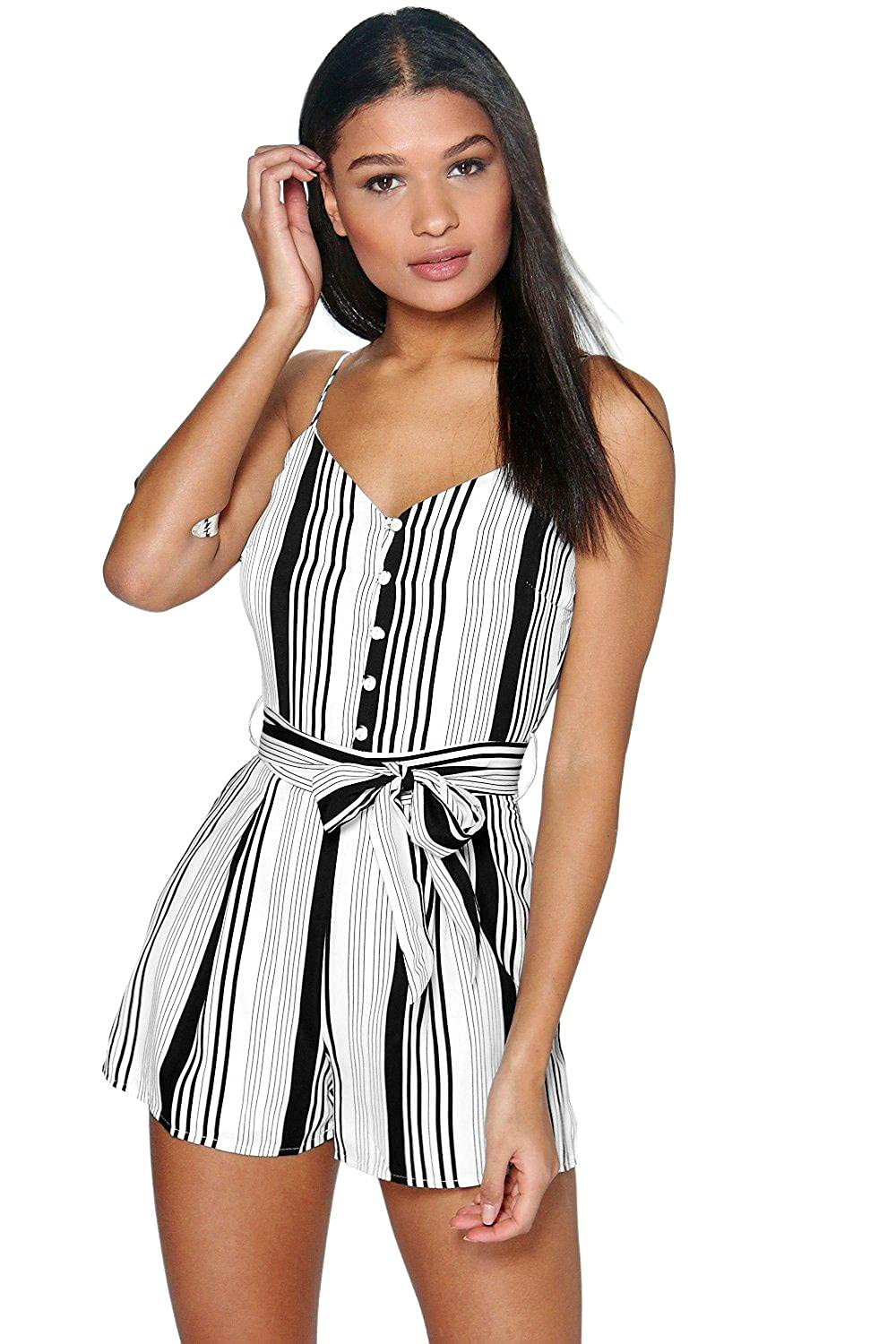 White Womens Bella Belted Striped Cami Playsuit