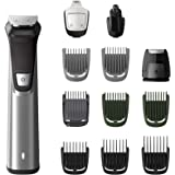 Philips Multigroom Series 7000 12-in-1 Face, Hair and Body Showerproof Premium Trimmer/Clipper/Styler with DualCut Technology, Up to 120 min Run Time and 12 Styling Tools, Silver/Black, MG7735/15