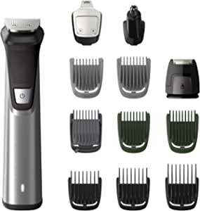 Philips Multigroom Series 7000 12-in-1 Face, Hair and Body Showerproof Premium Trimmer/Clipper/Styler, Up to 120 Min Run Time and 12 Styling Tools, MG7735/15, Silver/Black