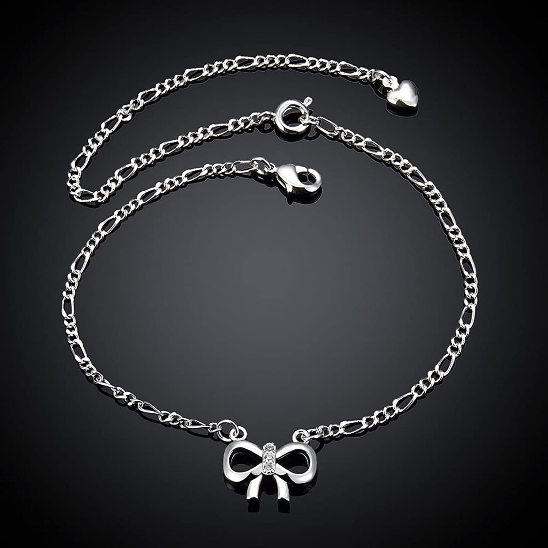 Epinki Femme Argent Cha/îne de Chevilles Maman Plaqu/é Or Creux Arc N/œud Bracelet de Cheville