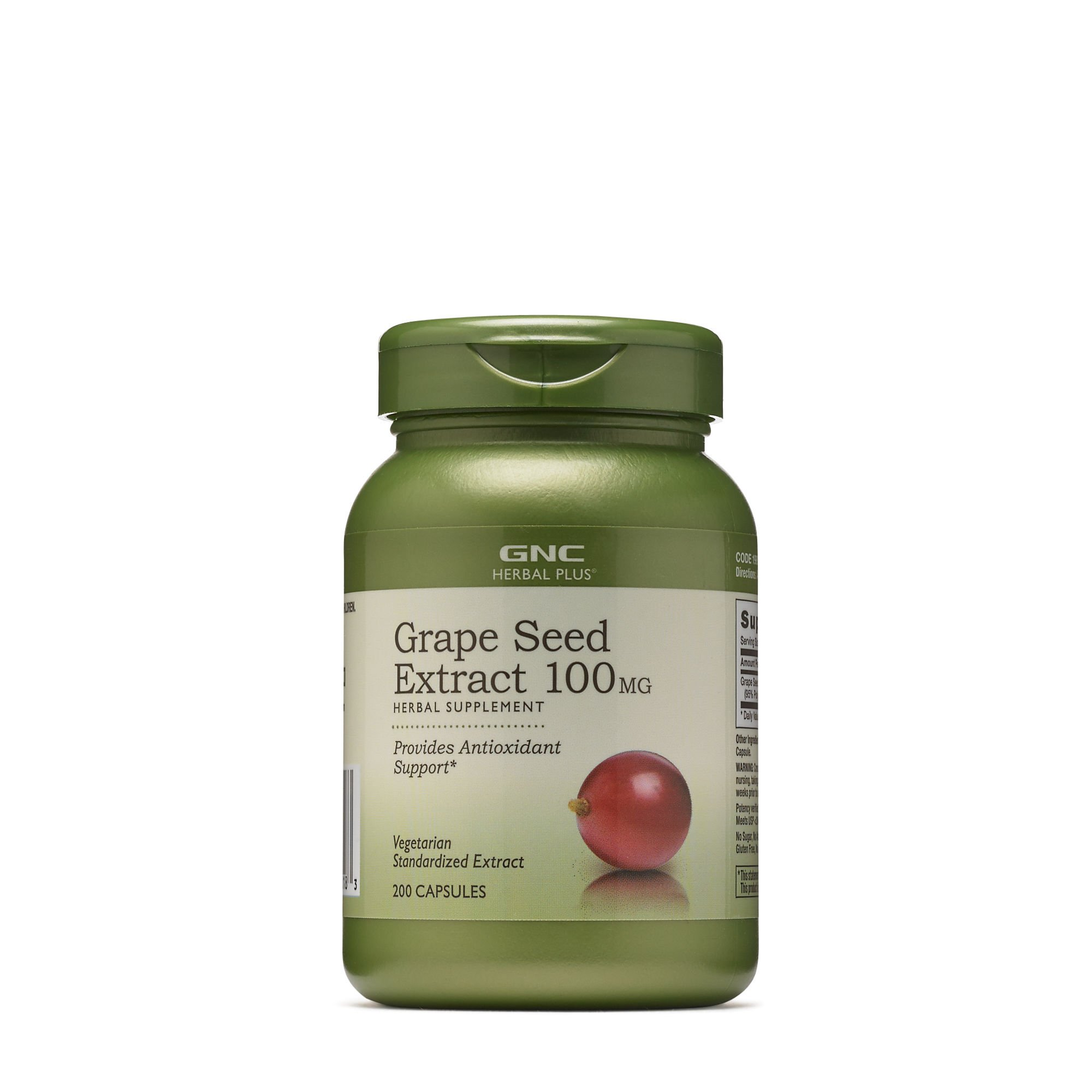 GNC Herbal Plus Grape Seed Extract 100mg, 200 Capsules, Provides Antioxidant Support