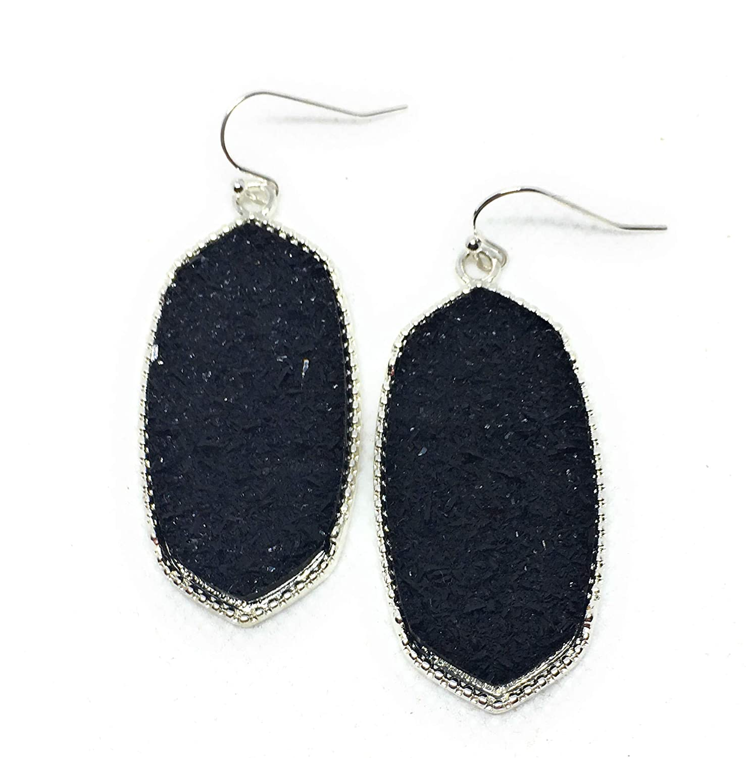 Inspired Fashion Jewelry Big Oval Drusy Earrings Black Onyx in Silver Metal Tone