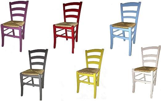 Mariosupertsore Stuhl Paesana Sitzfläche Stroh Lackiert