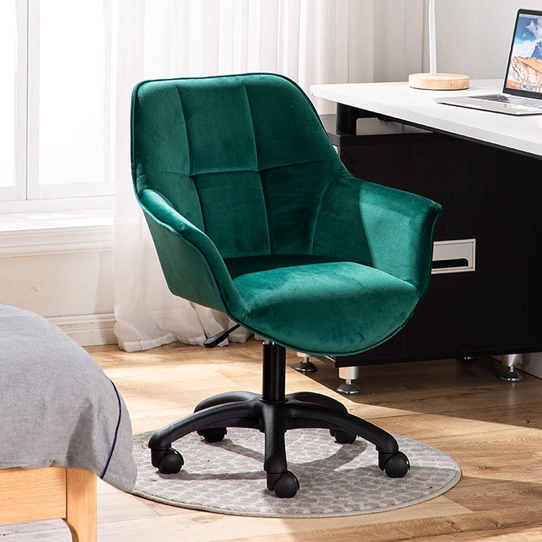 LIYIN Modern svängbar accentstol sammet mitt på baksidan kontorsstol ergonomisk skrivbordsstol med 360 graders hjulhjul (justerbar höjd) gRÖN