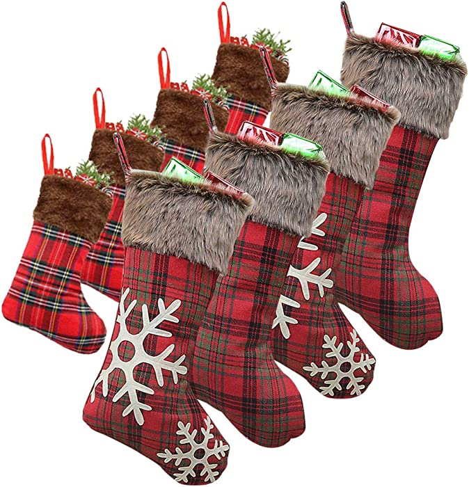 WUJOMZ Set of 8 Plaid Christmas Stockings, 18 Inches and 9 Inches Burlap with Large Plaid Snowflake and Plush Faux Fur Cuff Stockings, for Xmas Home Decor, Christmas Decorations