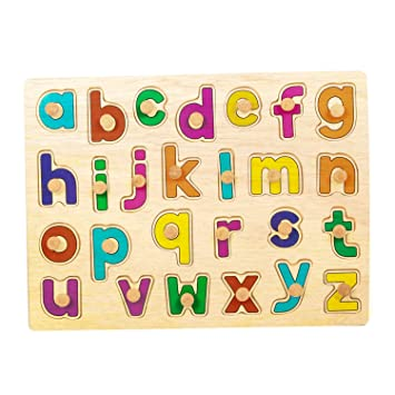 Sardar Ji Toys Kids Wooden Alphabet Puzzle Board with knobs Wooden Small Letters (ABC) Puzzles Educational Toys Baby Learning Letter Blocks for Kids Boys & Girls Age 3+ Years