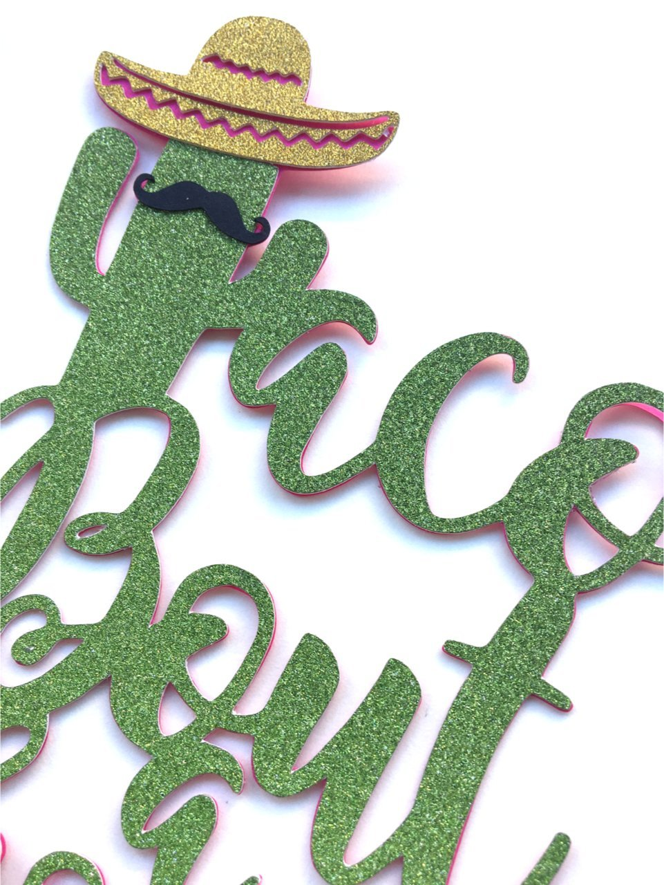 1 pc mustache sombrero cactus cacti taco bout a shower cake topper green glitter fiesta festive party theme birthday baby shower wedding