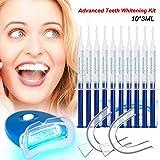 Gel Blanqueador de Dientes Teeth Whitening Kit Profesional Blanqueamiento Dientes-10x3ML Gel, 1x Luz LED, 2x Bandeja Dental, 1x Carta de Colores del Diente, 5 Para Blanquear Los Dientes