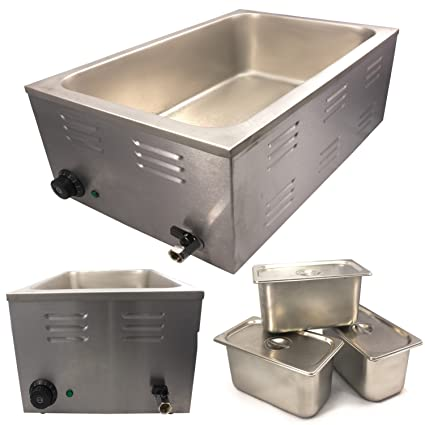 150Mm Depth Chef-Hub Commercial Wet Well Bain Marie Electric Buffet Warmer 1.2Kw Temp Range 20/°C Catering 85/°C With Integrated Drain 3X 1//3 Gn-Stainless Steel Pans /& Lids Ideal For Restaurants