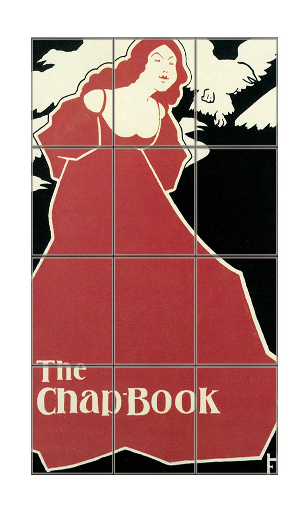 Red Lady The Chap-Book (Frank Hazenplug) Vertical Tile Mural Satin Finish 24''Hx18''W 6 Inch Tile