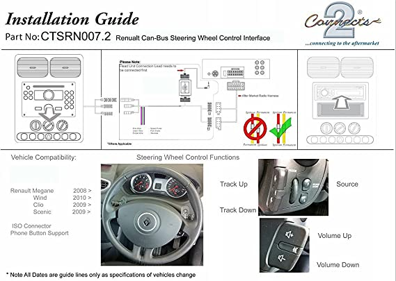 Amazoncom Fitting Kit And Steering Wheel Adaptor Ctsrn0072 For Renault Clio Or Megane Free Alpine Lead Car Electronics: Renault Wind Wiring Diagram At Hrqsolutions.co