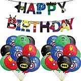 TUWUNA Superhero Party Supplies,24Pcs Superhero Balloons and 1Pcs Superhero Banner for Kids Birthday Party Favor Supplies Dec