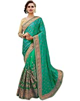 Arohi Designer Embroidered Green Colour Silk & Georgette & Net Saree for women With Blouse Material