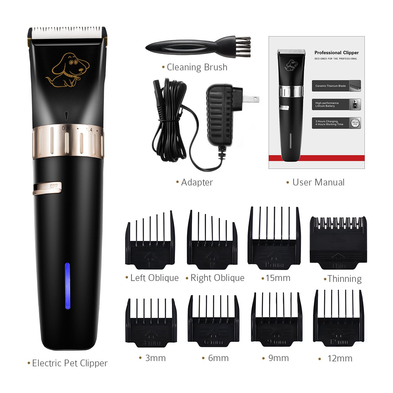 OMORC Professional Dog Clippers for Thick Coats, Quite Electric Pet Hair Trimmer with 4-Hour Cordless Operating, Cat Grooming Kit with 8 Guides Comb & Stainless Steel Sharp Blades