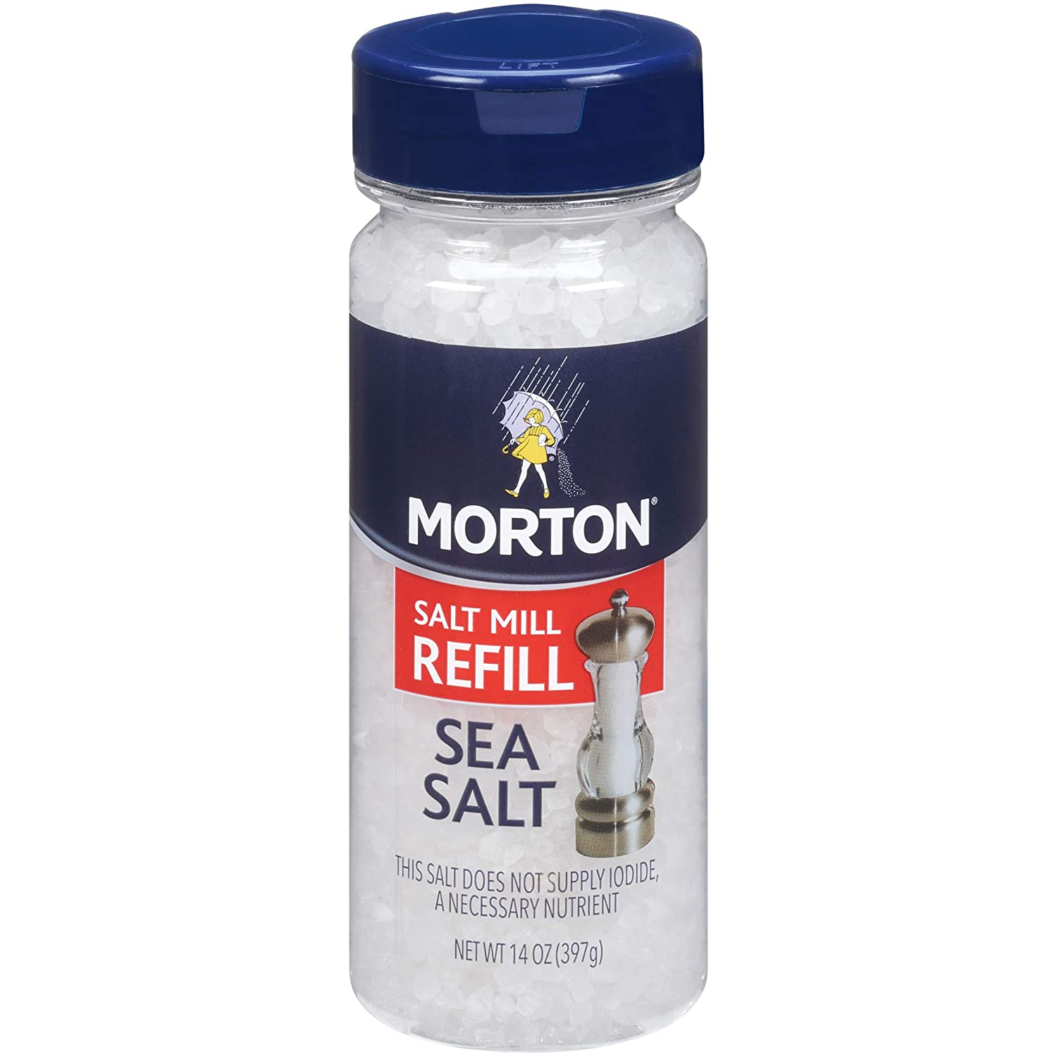 Morton Sea Salt Grinder Refill, Extra Coarse, Non-Iodized, 14 Ounce (Pack of 12)
