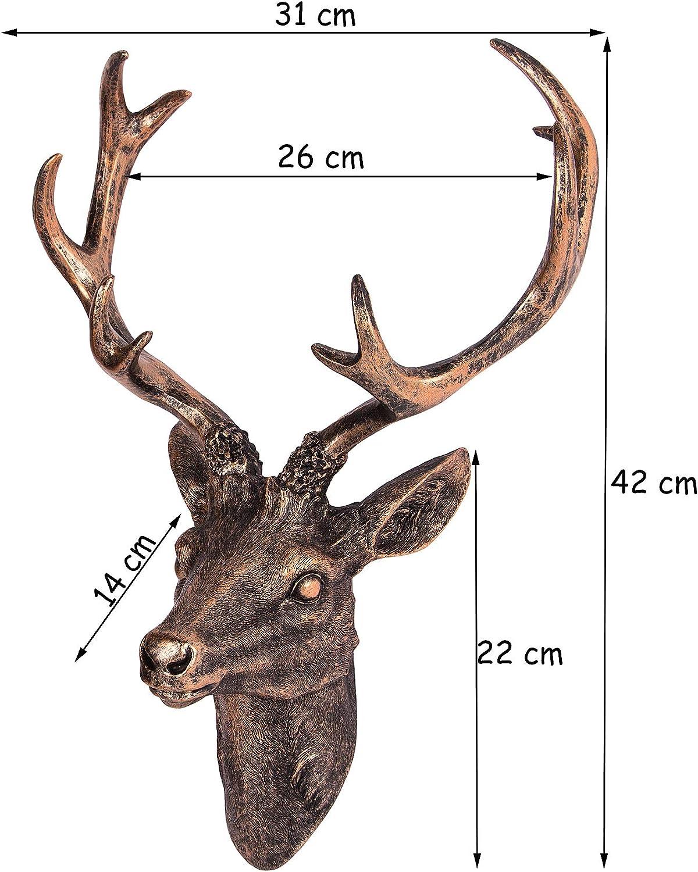 Hirschkopf f/ür Jagdzimmer Wand-Deko in Geweih-Optik BigDean Gro/ßes Hirschgeweih 42 cm Bronze-Farben Aus Polyresin f/ür Innen