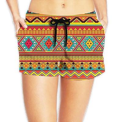 MASDUIH Womens Quick 3D Printing Dry Beach Shorts Stripe Pattern Casual Shorts