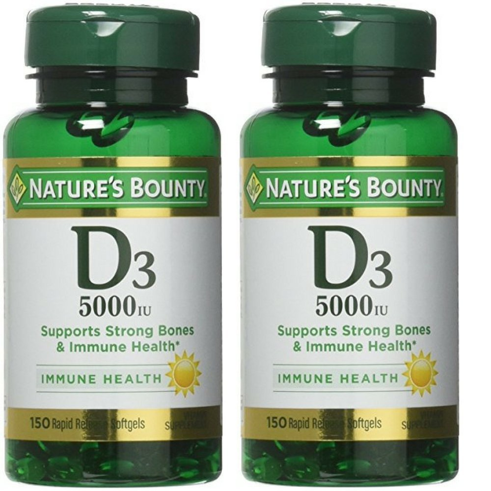 Nature's Bounty Vitamin D3 5000 IU 150 Softgels Pack of 2 by Nature's Bounty