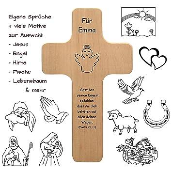 Holzkreuz Mit Individueller Gravur Personalisiert Mit Name Spruch Motiv Holz Kruzifix Als Geschenk Zur Geburt Taufe Kommunion Firmung Kreuz