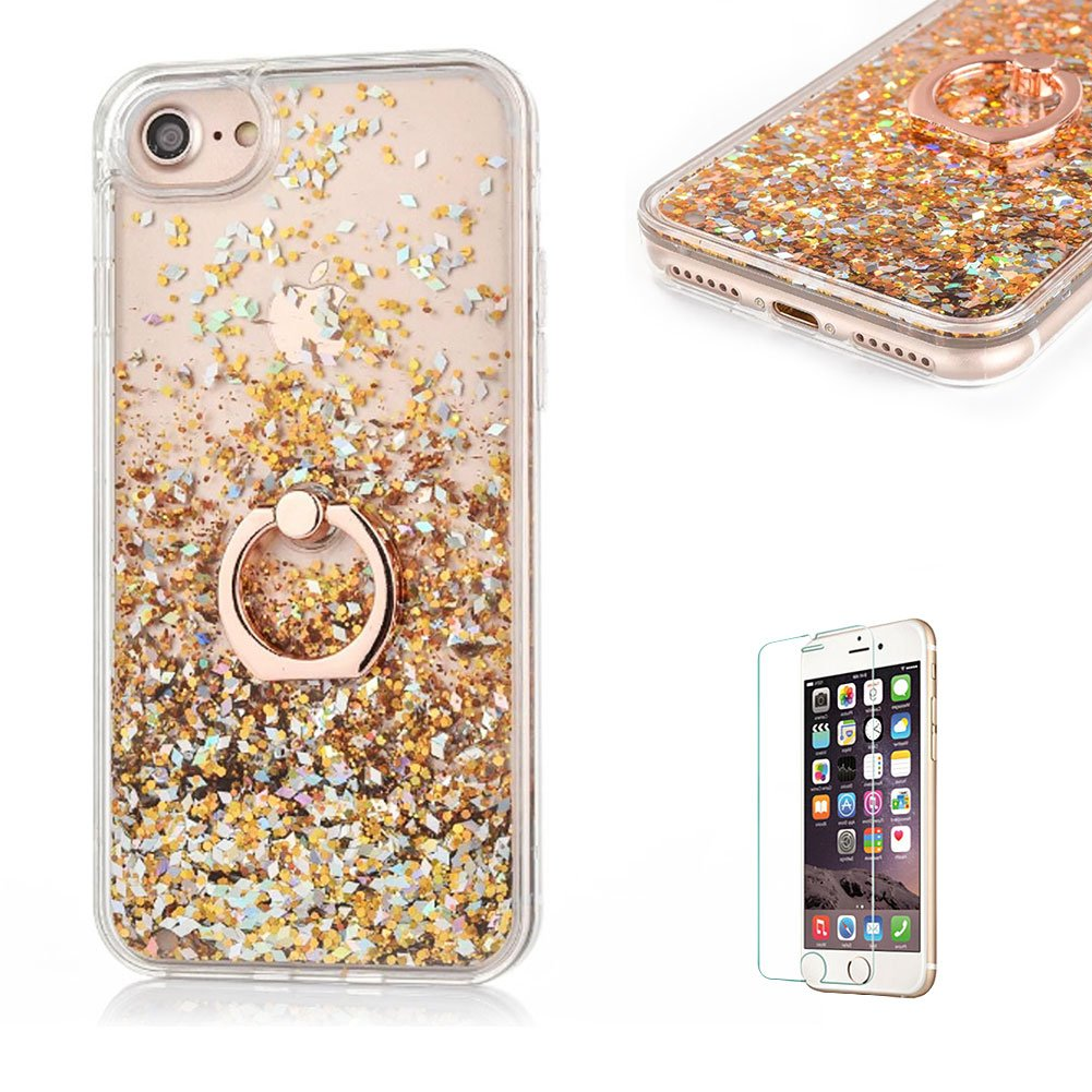 For iPhone 5/5S/SE Glitter Case, Funyye New Creative Floating Water Liquid Small Love Hearts Design Luxury Sparkly Bling Glitter Back Hard Shell Protective Case Cover With Ring Holder Protective Case for iPhone 5/5S/SE-Silver FUNYYE0021395