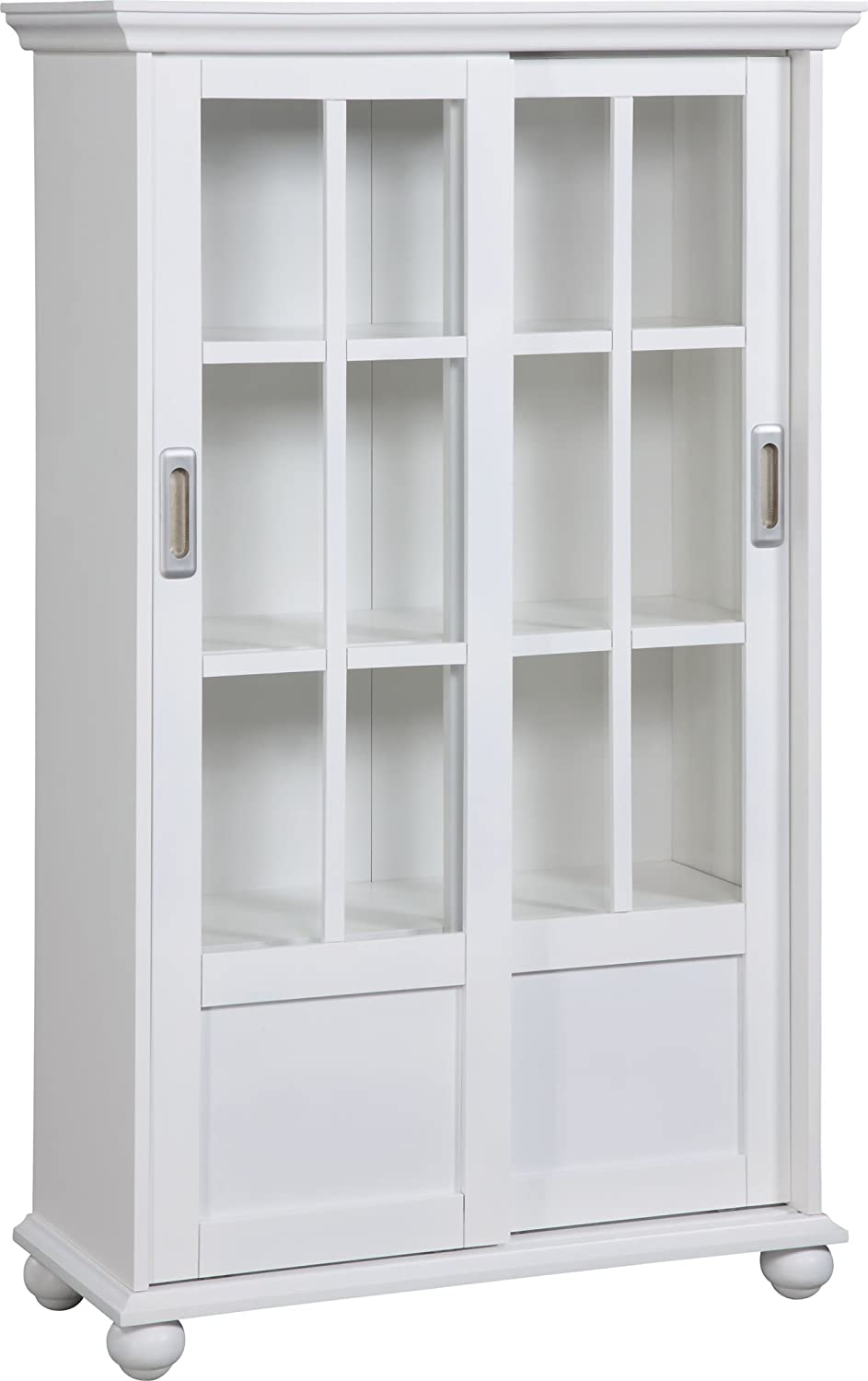 Amazon Altra 9448096 Bookcase With Sliding Glass Doors White