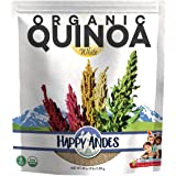 Happy Andes White Organic Quinoa 3 lbs - Non Gluten, Whole Grain - Ready to Cook - Healthy Meal with Vitamins & Protein