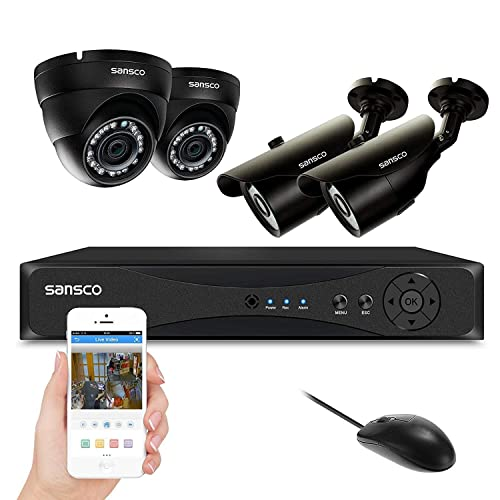 SANSCO 4CH 5-in-1 Smart 1080p DVR Recorder CCTV Surveillance Security System with 4x Full HD 2MP Camera (1920x1080, Day/Night Vision, Vandal Proof Casing, Mobile App: Xmeye, W/o Hard Drive)