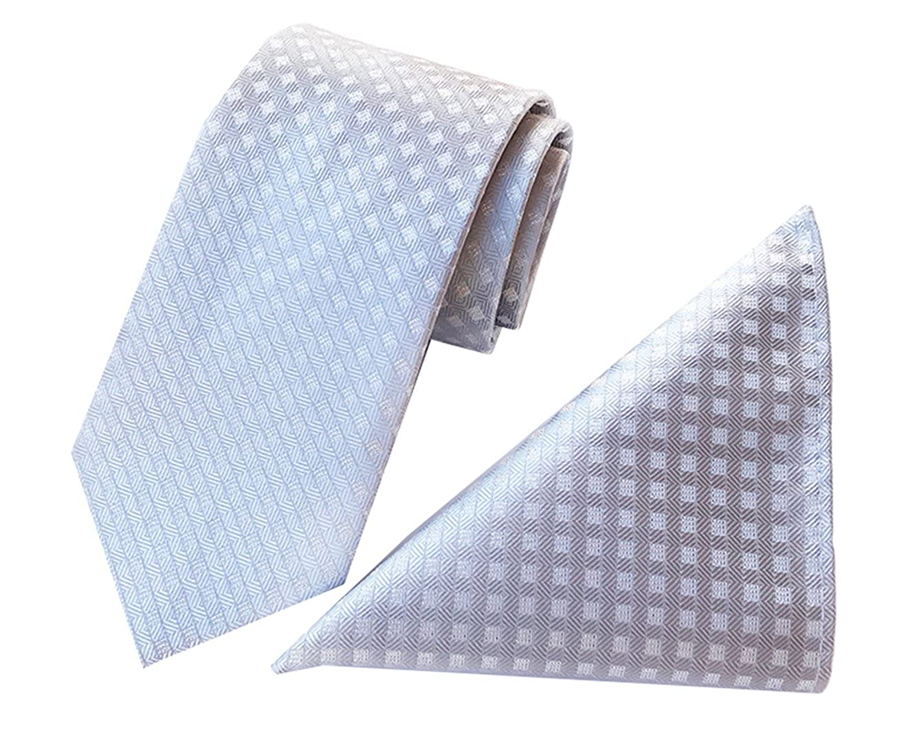 MENDENG Mens Classic Plaid Tie Pocket Square Silk Necktie Set Wedding Jacquard