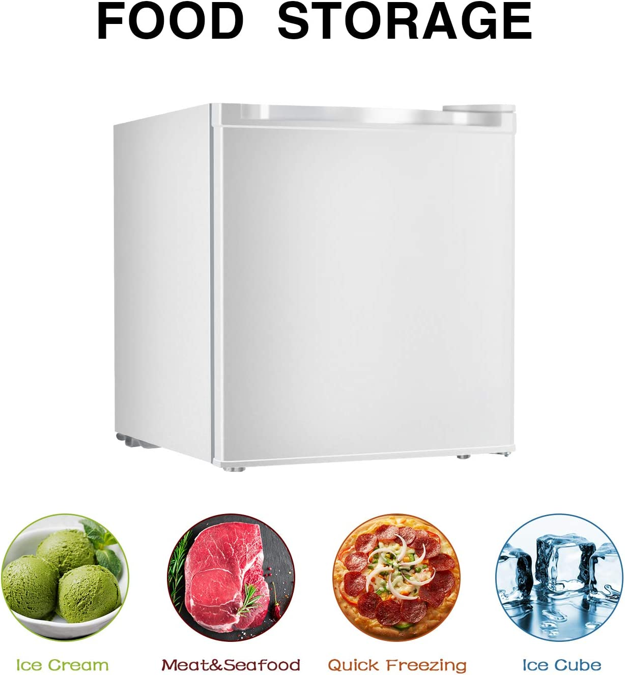 ELECWISH 1.1 cubic feet Mini Refrigerator Energy Star Upright Freezer Single Reversible Door White Kitchen and Bedroom Super Quiet Mini Fridge with Removable Shelves for Living Room