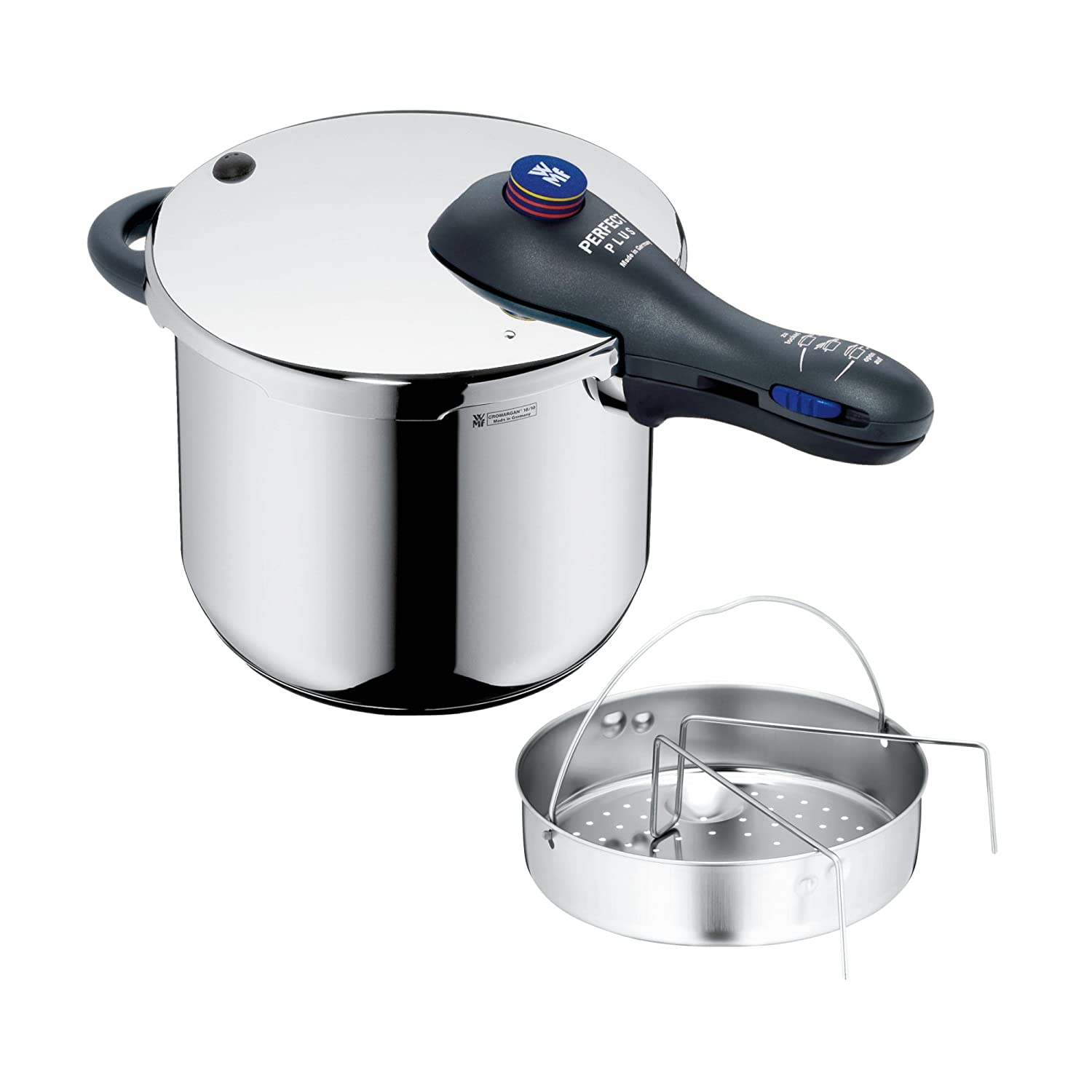 WMF Perfect Plus Pressure cooker 6,5l with insert Ø 22cm Made in Germany internal scaling Cromargan stainless steel suitable for induction 07.9313.6040 Cookware Pressure Cookers