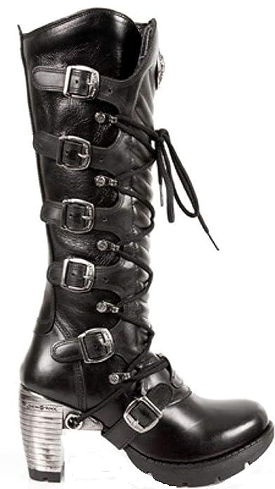 Rock Bottes Noires M TR004 S1 Cuir Ladies en Newrock New à 8wv0nmON
