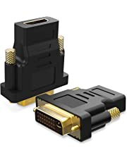 DVI to HDMI, TechRise 2-Pack Gold-Plated DVI to HDMI Adapter Converter - DVI Male to HDMI Female