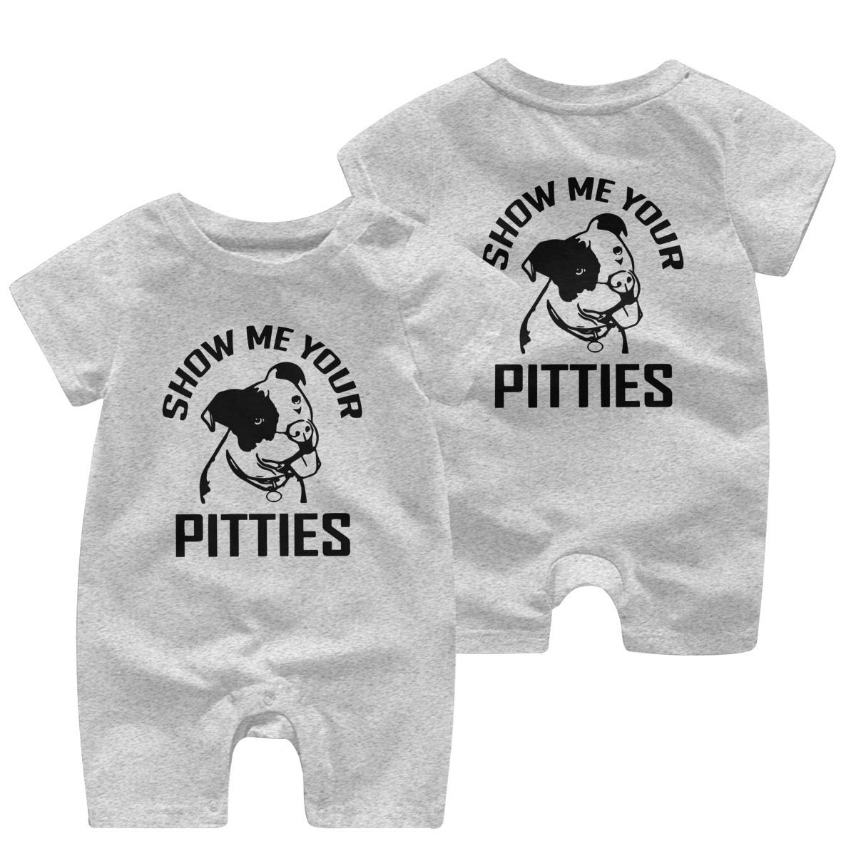 UGFGF/&3 Show ME Your Pitties Funny Pitbull Baby Girl Short Sleeve Romper Jumpsuit Jumpsuit 0-24 Months